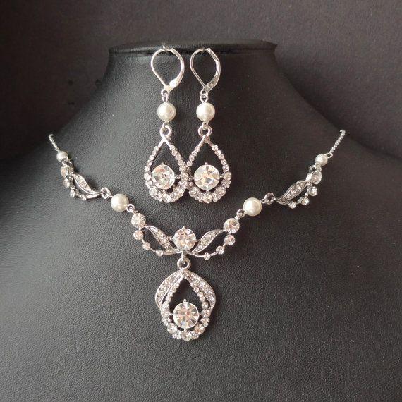 Art Deco Bridal Necklace Earrings SET Vintage Wedding Jewelry Set