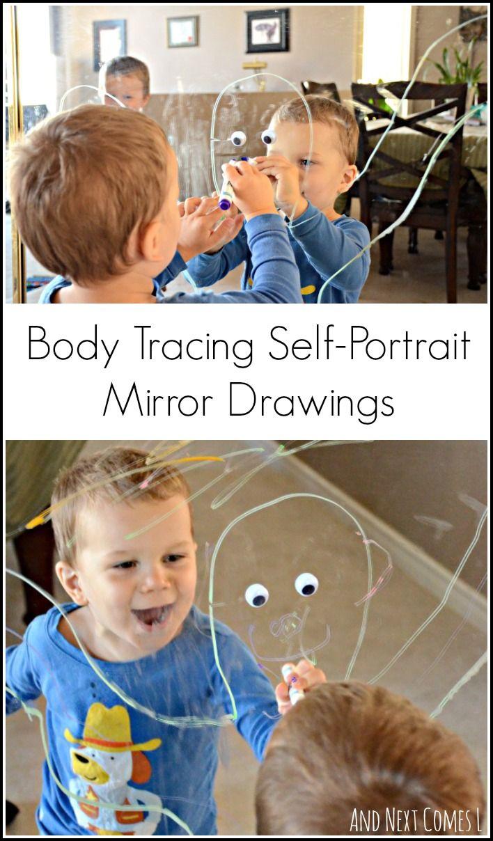Body Tracing Self Portrait Mirror Drawings Light