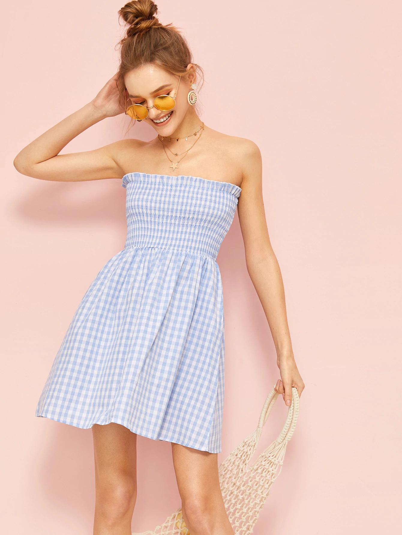 Frilled Trim Shirred Bodice Plaid Tube Dress Tube Dress Tube Dress Outfit Dresses [ 1785 x 1340 Pixel ]