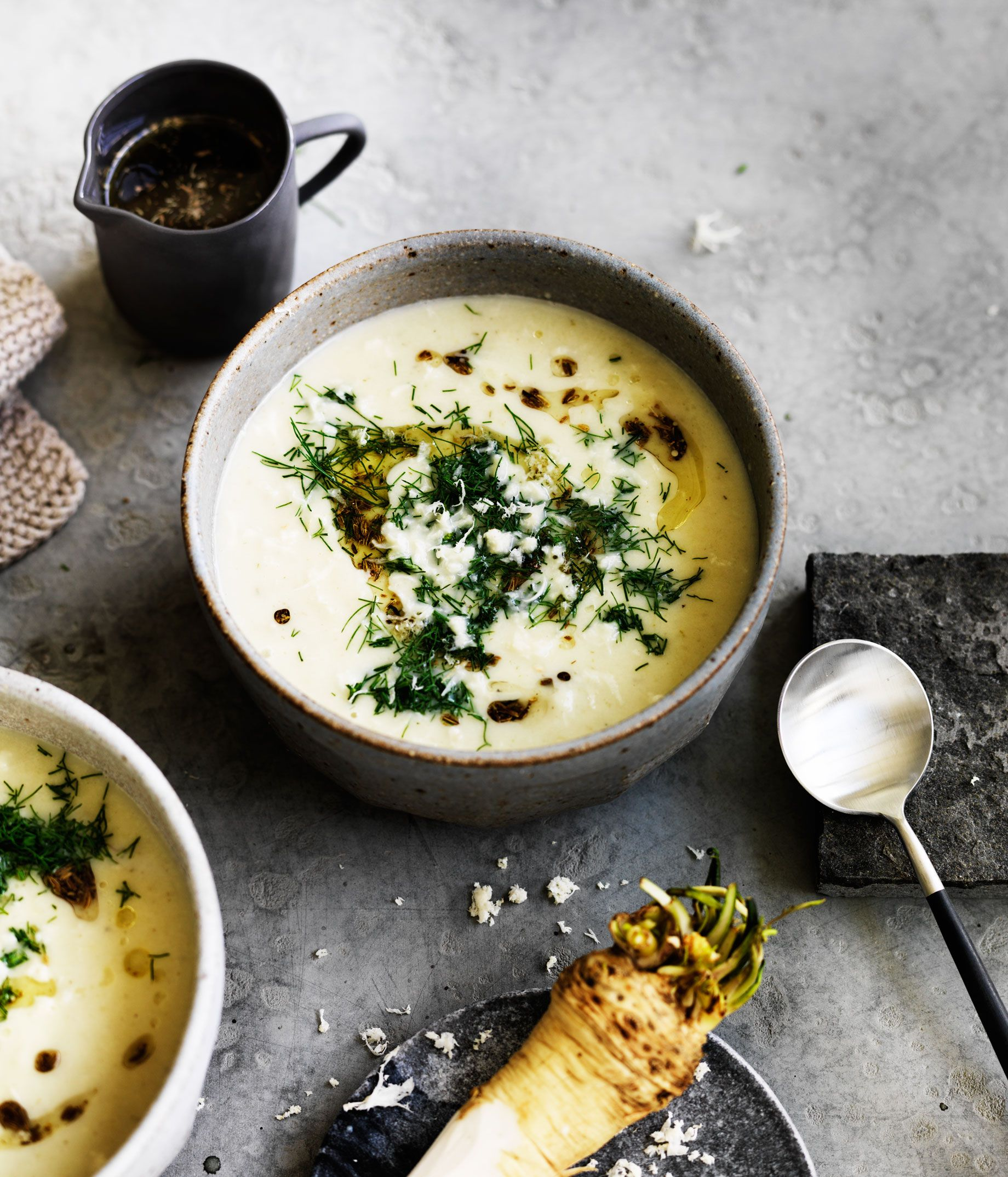 Fennel soup with toasted fennel seed oil and horseradish :: Gourmet Traveller