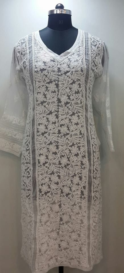 Lucknow Chikan Online Kurti White On White Faux Georgette With Very Fine Murri Shadow U0026 Kangan ...