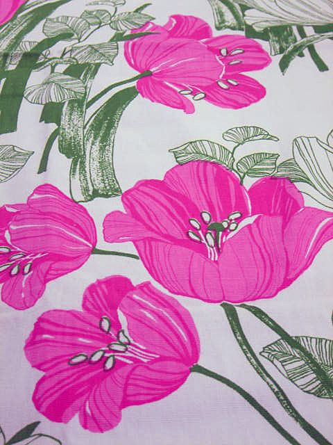Vintage Dancing Tulips Screen Print Fabric by Hexter