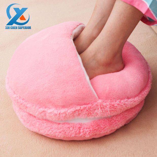 Creative Macaron Plush Foot Warmer Winter Feet Warmer Slippers