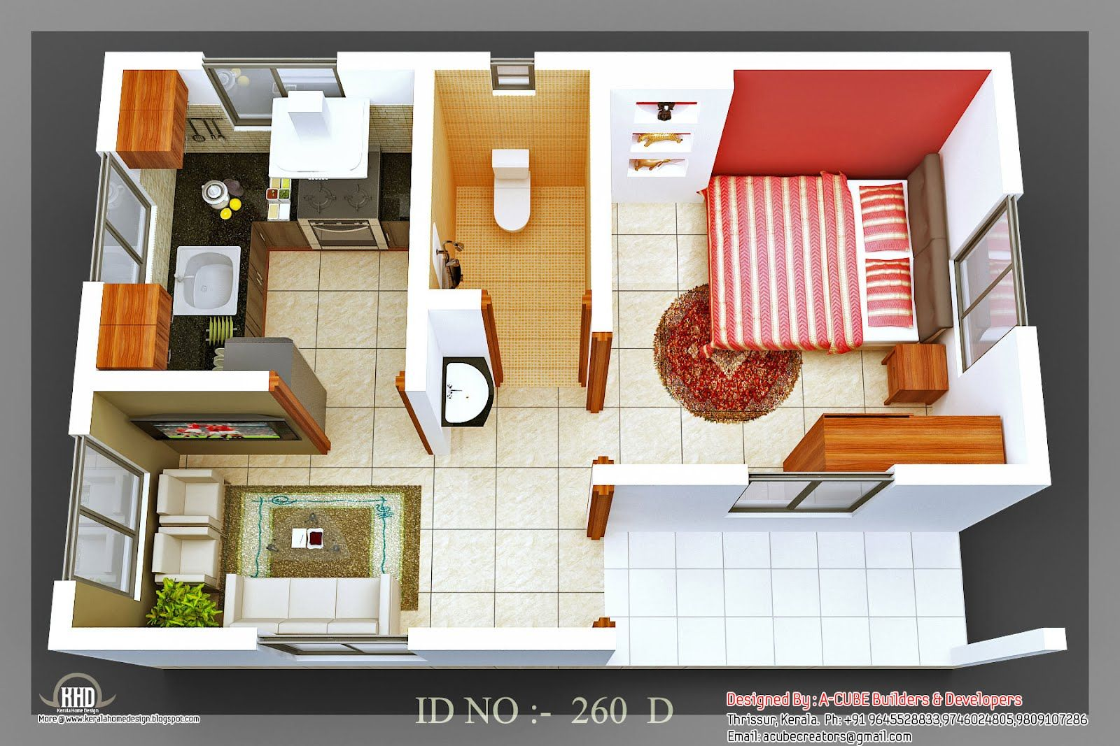 3d isometric views of small house plans kerala home Three d house plans