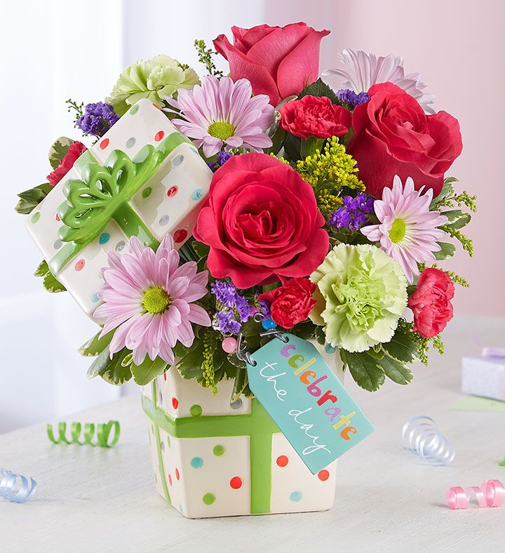 Birthday gifts full of beautiful blooms our festive