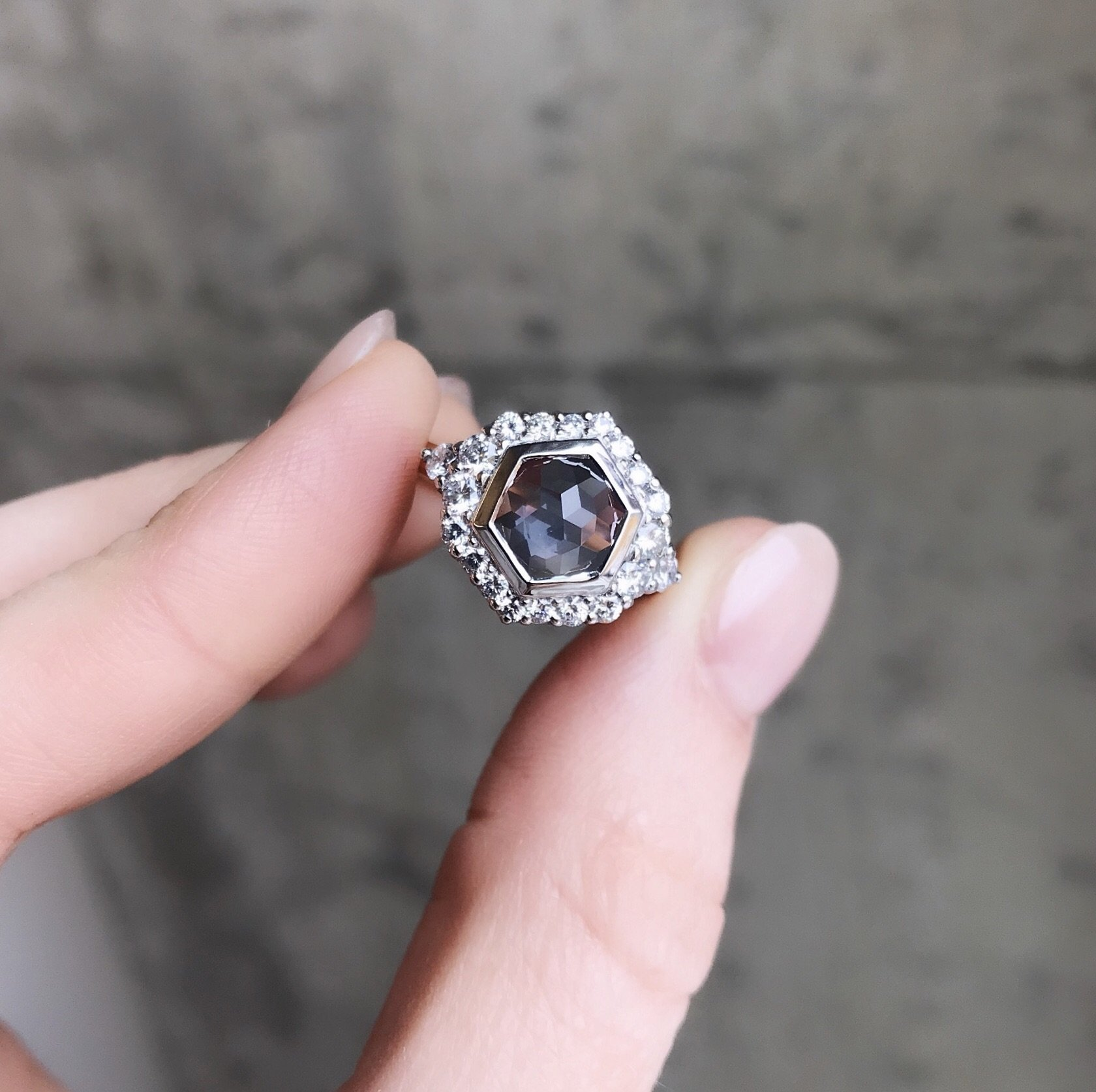 2 15ct Hexagon Rosecut Montana Sapphire Ring In Prong Set Halo With Tapered White Diamonds Bridal Fashion Jewelry Montana Sapphire Ring Bezel Engagement Ring