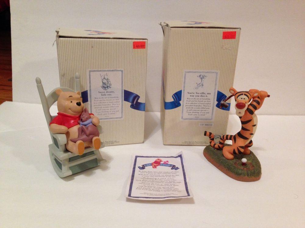 Disney Pooh & Friends Porcelain Figurines Set of 2 Pooh, Piglet and Tigger  #WaltDisney