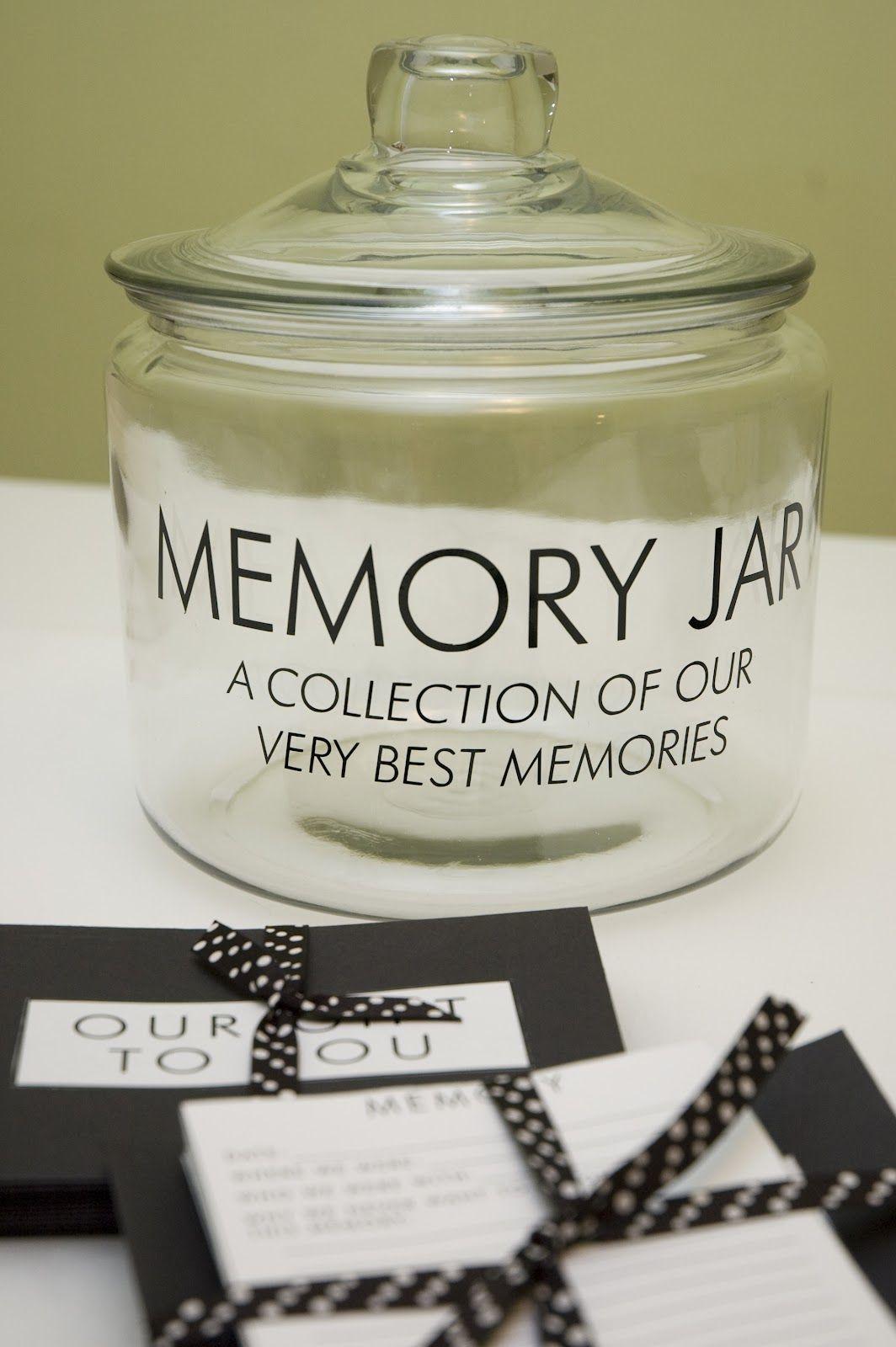 gift idea memory jar have guests write down their favorite memory