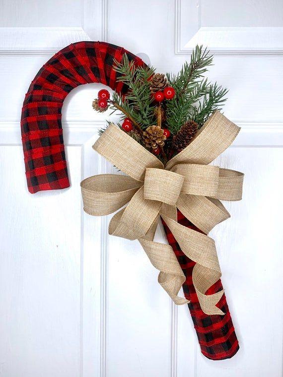 Buffalo Check Candy Cane Wreath, Candy Cane Decor, Candy Cane Door Hanger, Candy Cane Wall Hanger, Holiday Wreath