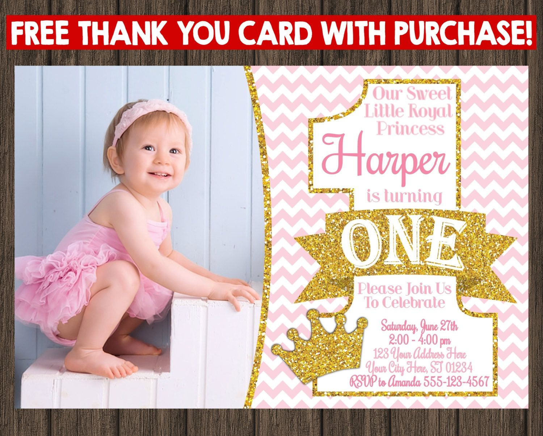 Princess First Birthday Invitation Pink and Gold 1st Birthday – Thank You Cards First Birthday