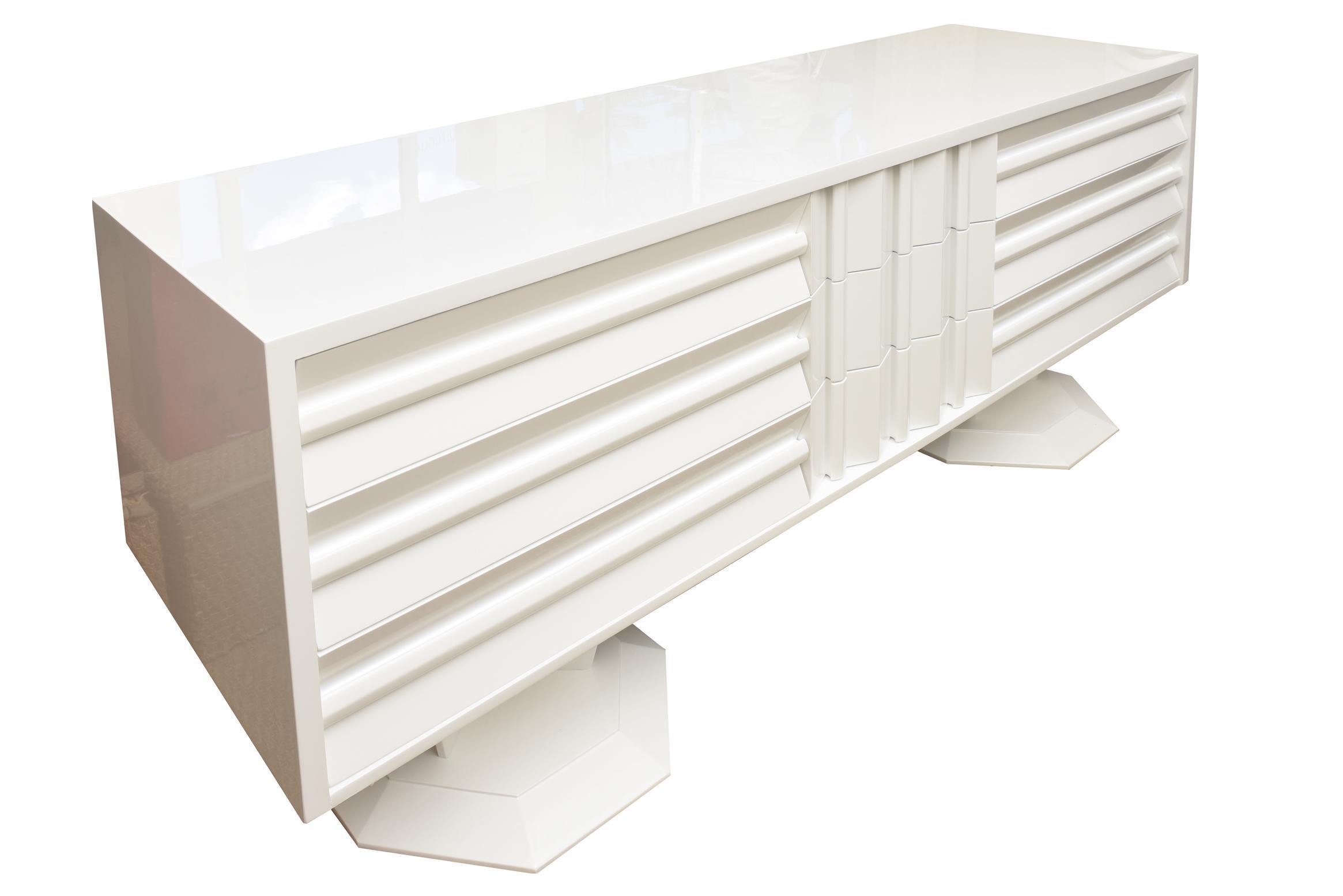 Mid century white lacquered wood brutalist sculptural dresser