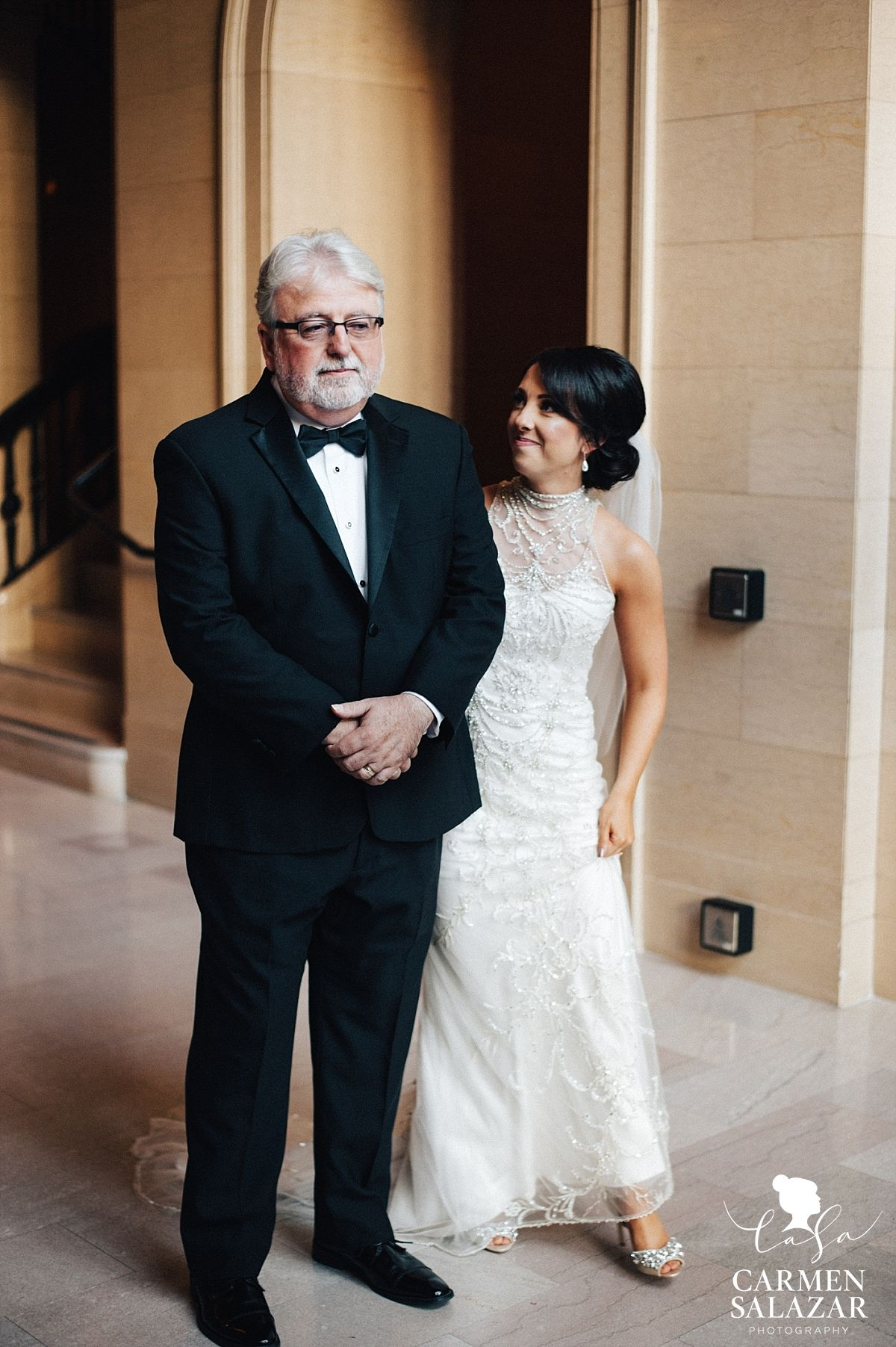 Wedding dresses sacramento  Father of the bride first look in Citizen lobby  Carmen Salazar