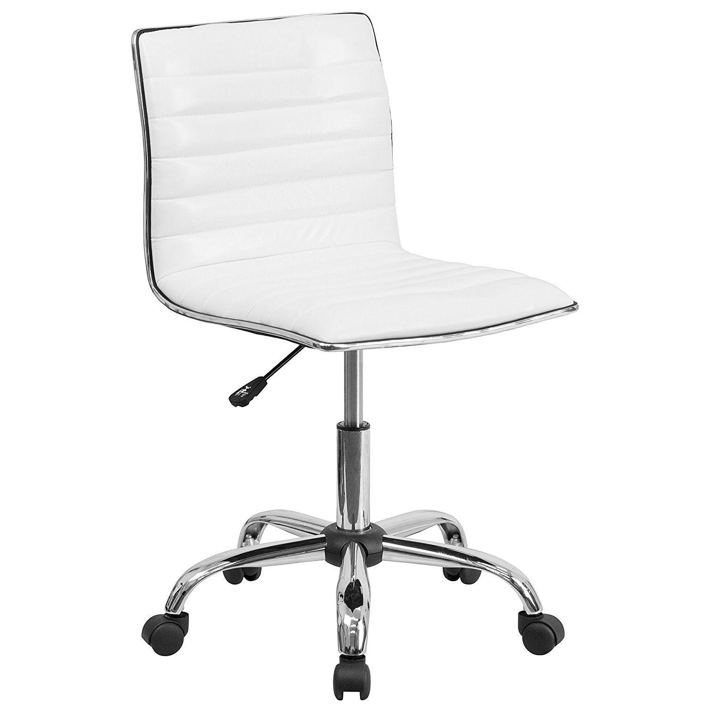 Amazonsmile Flash Furniture Low Back Designer Armless White Ribbed Swivel Task Chair Kitchen Dining Task Chair Flash Furniture White Office Chair