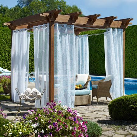 Biscayne Sheer Outdoor Grommet Curtain Panels - Biscayne Sheer Outdoor Grommet Curtain Panels Garden Pinterest