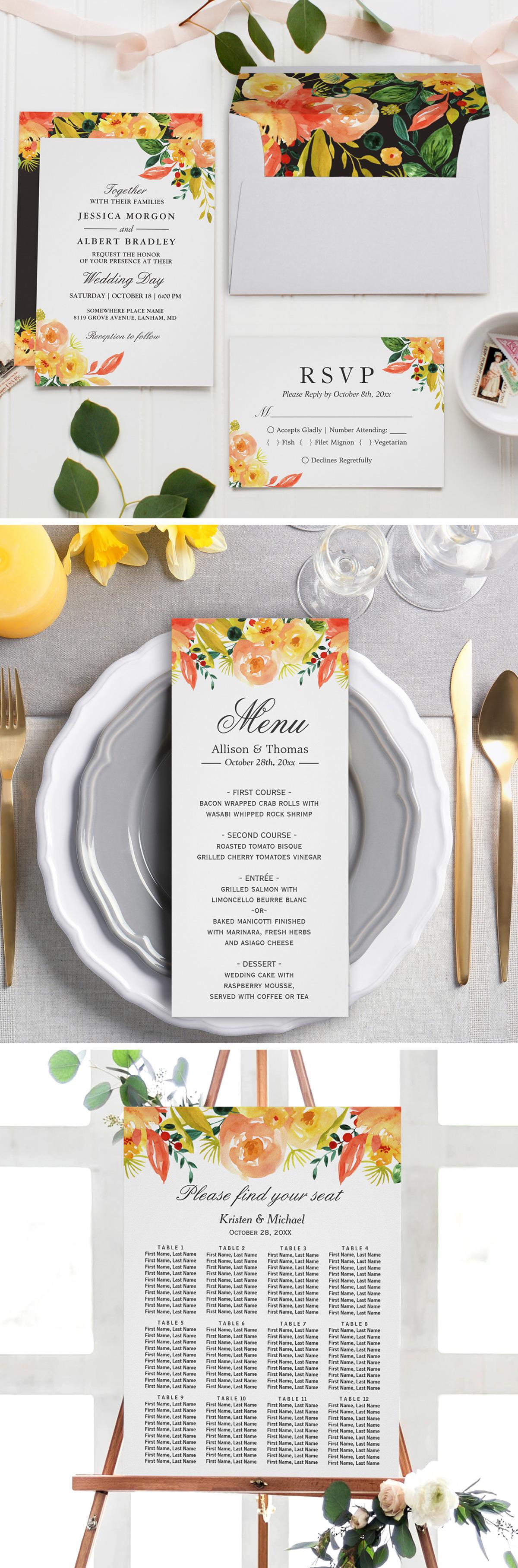Watercolor Autumn Peach Floral Wedding Invitation Suite | Invitation ...
