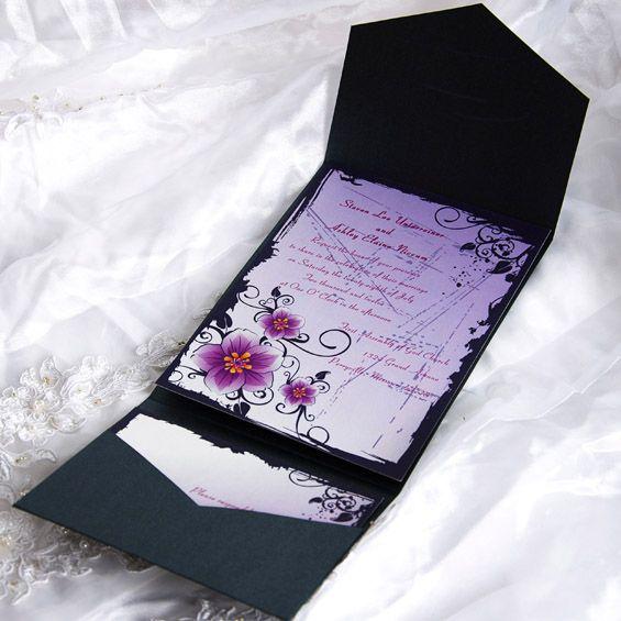 Bright Flowers Blossom Pocket Wedding Invitations IWPS037