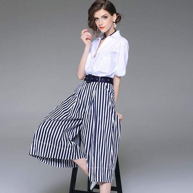 7429d74323 Women office wear brief white cotton shirts + Japanese belt striped wide  leg pants two piece set new 2019 spring #suits #sets #sweaters #tshirs  #streetwear ...