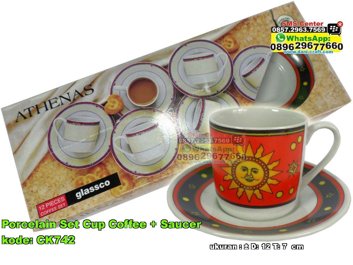 Porcelain Set Cup Coffee Saucer Souvenir Pernikahan