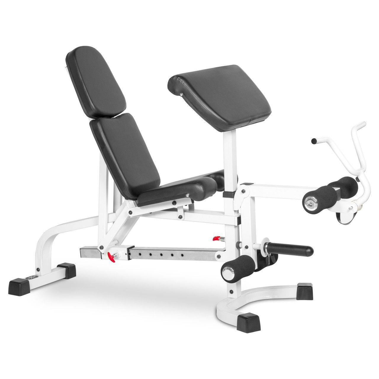 Xmark Fid Flat Incline Decline Weight Bench With Leg Extension And Preacher Curl Xm 4419 White Weight Benches Preacher Curls Leg Extensions