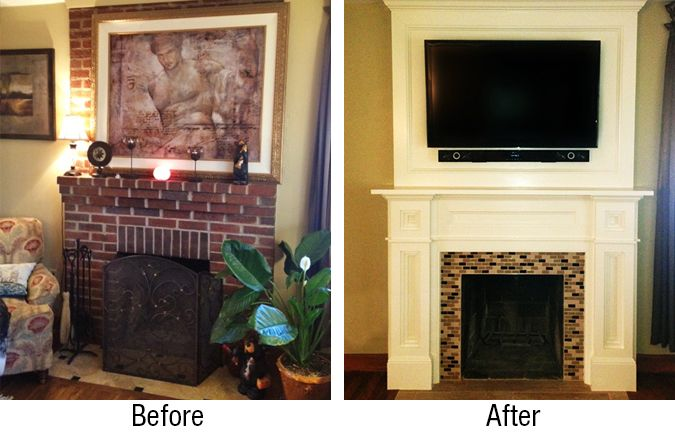 Before and after pictures brick fireplaces custom - How to reface a brick fireplace ...