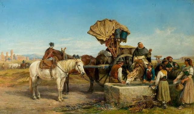WINE CART, THE ROMAN CAMPAGNA, by Charles Poingdestre