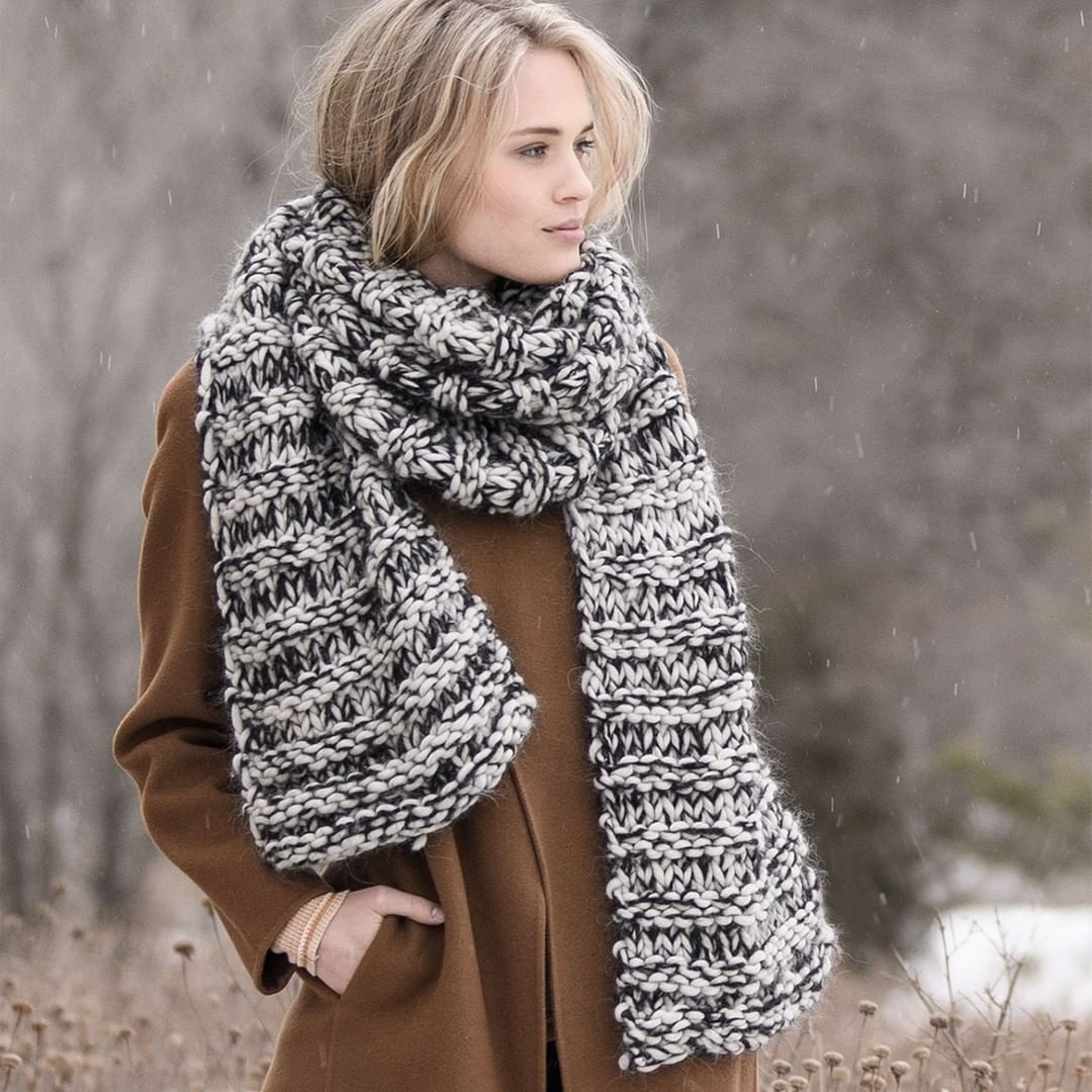 """Photo of Blue Sky Fibers on Instagram: """"A fast weekend project for you, the Big Falls Scarf. Knit with Bulky and Brushed Suri, using large needles to create this oversized scarf.…"""""""