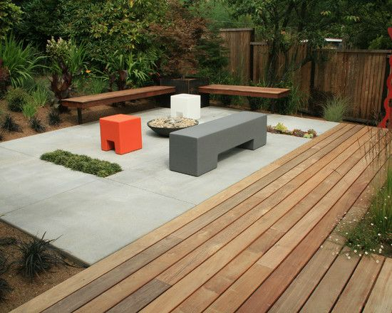 Concrete slab and wood deck combo landscapes pinterest for Garden decking and slabs