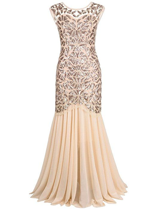 $48 AMAZON-Kayamiya Women\'s 20s Beaded Floral Maxi Long Gatsby ...