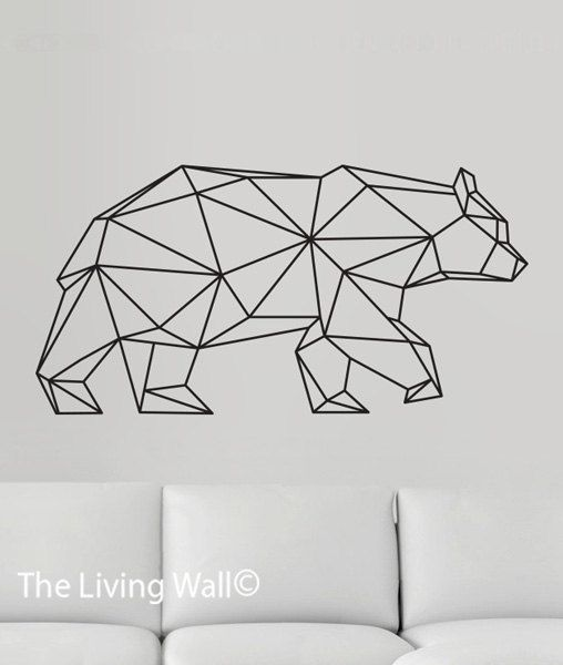 Geometric Bear Wall Decal Geometric Animals Decor Bear Wall Art - Vinyl wall decals animals