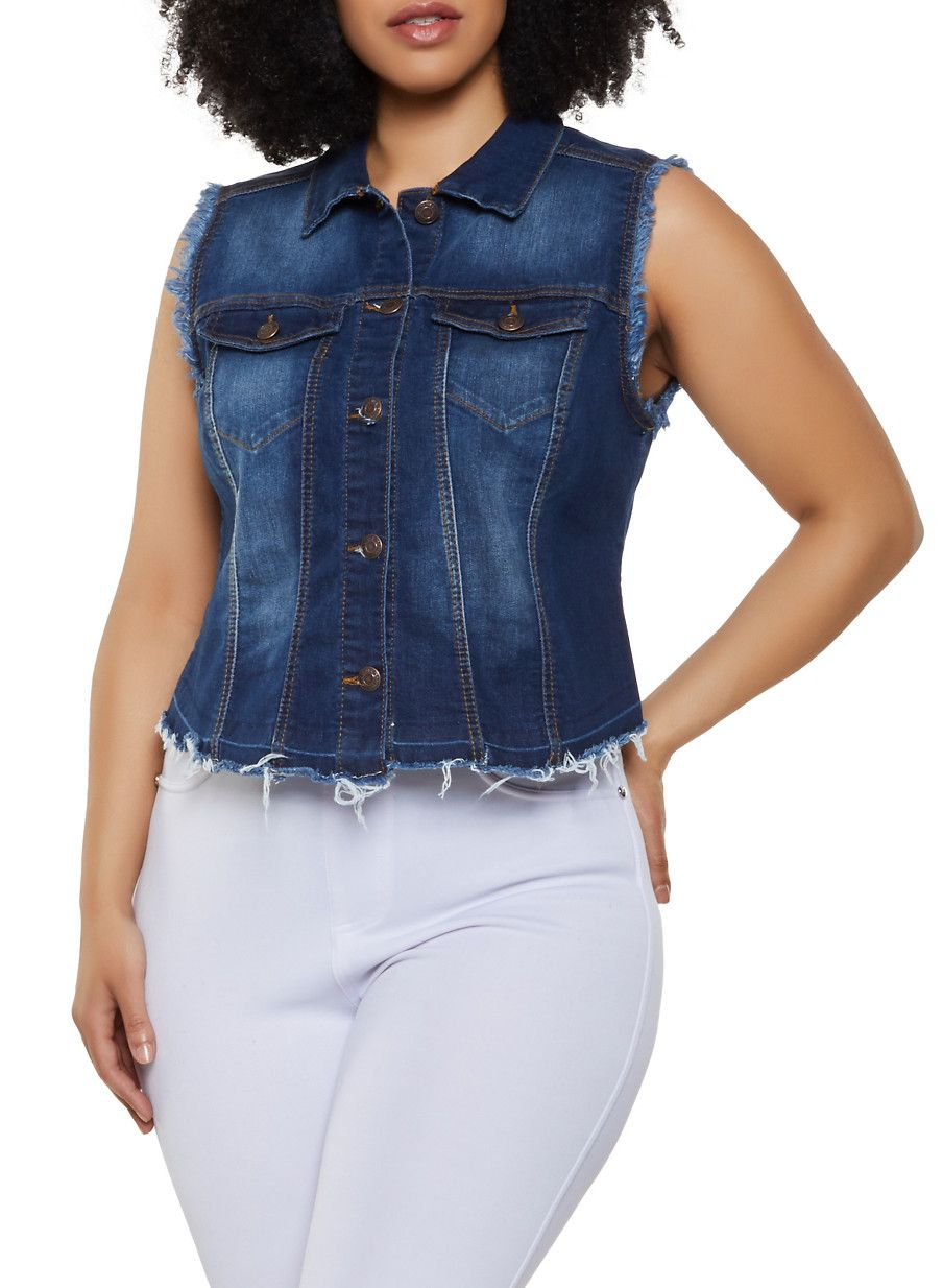 0cb645276 Plus Size WAX Frayed Denim Vest - Blue - Size 1X in 2019 | Products ...