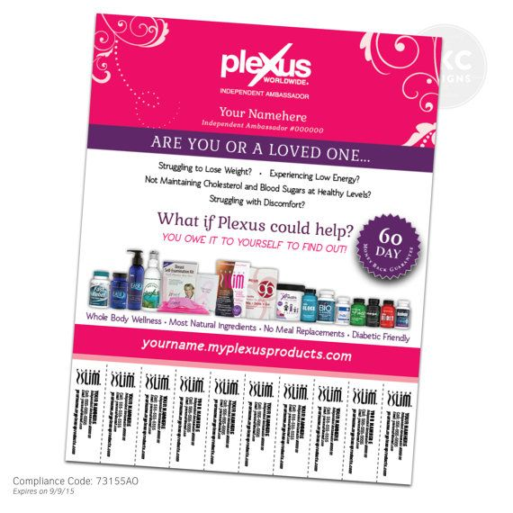 Pink Fancy Plexus Flyer With Tear Off Tabs Digital File