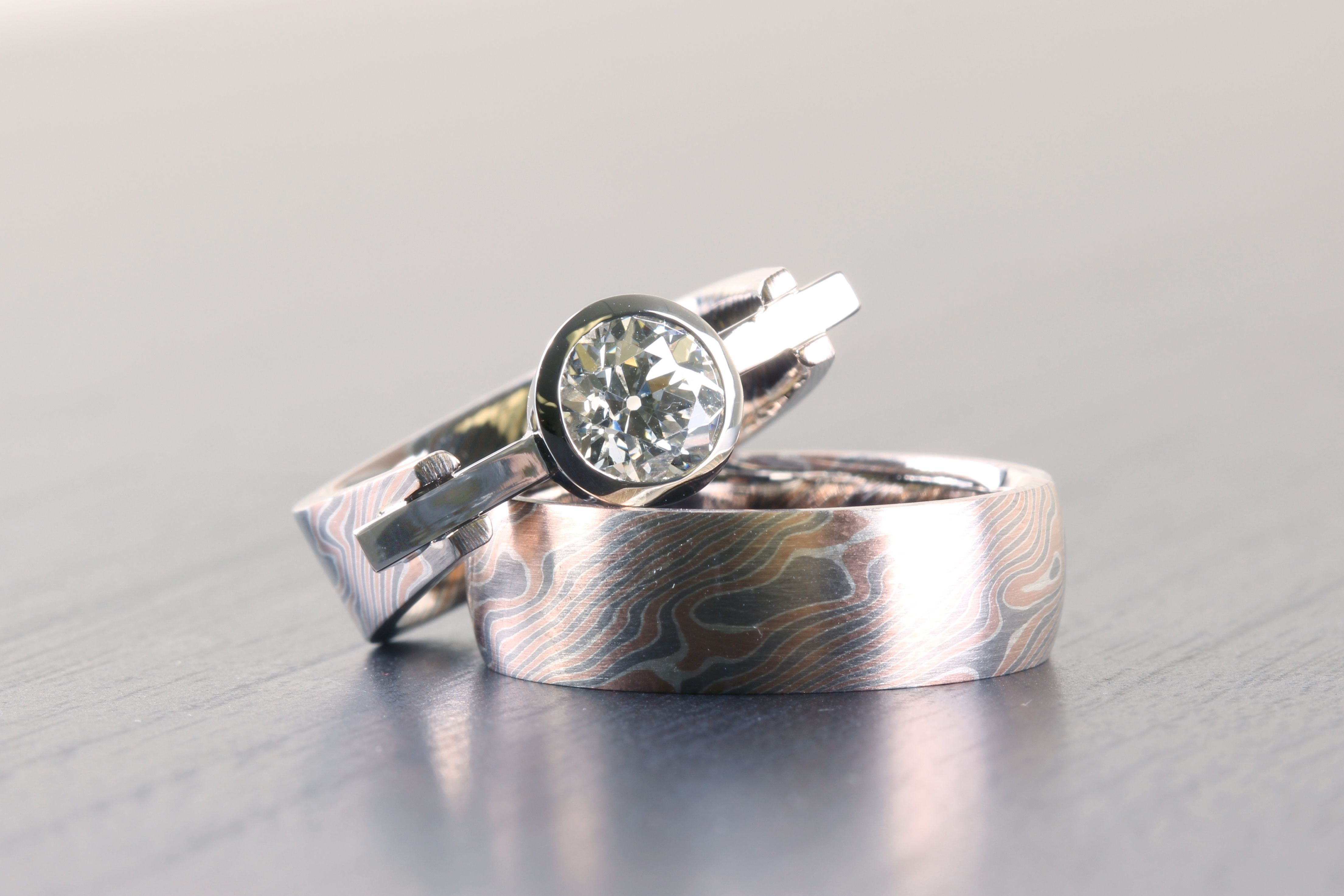 Our Birch pattern mokume of red and white gold with layers