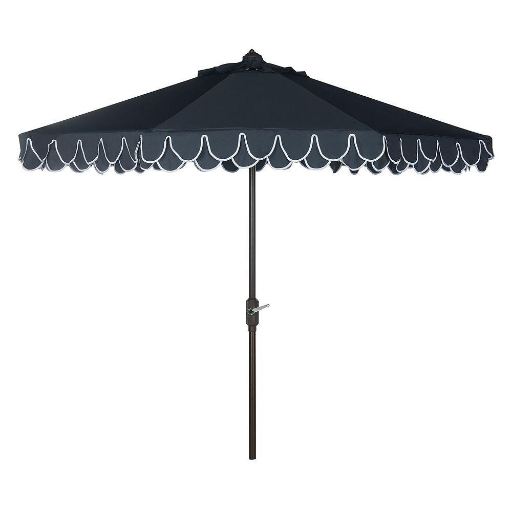 Safavieh Elegant Valance 9 Ft Outdoor Patio Umbrella Blue Navy