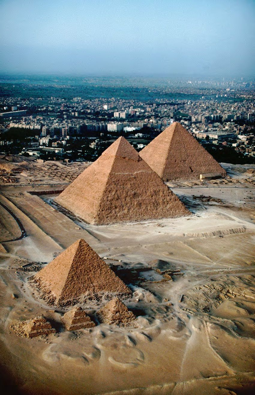Great Pyramids, Gizeh, Egypt, Dynasty IV  From left: Pyramids of