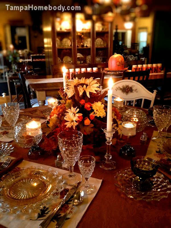 Dinnerware & Fostoria American Tablescape - Thanksgiving. Beautifully lit by ...