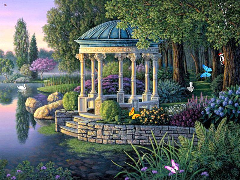 Reminds Me Of A Fairy Tale Garden Landscape Art Beautiful Paintings Fantasy Landscape