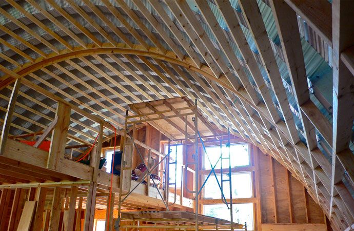Hatchworks portfolio quonset frame inside construction for A frame hut plans