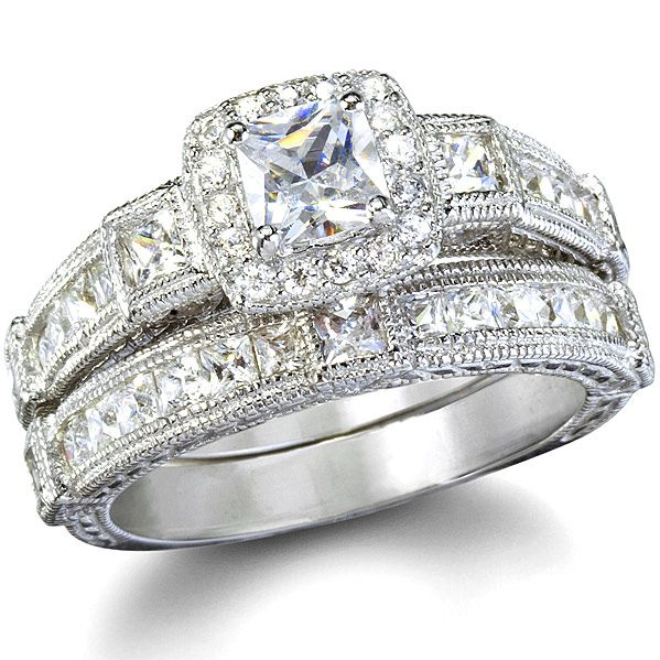 Penelope S Antique Style Imitation Diamond Wedding Ring Set 4 Sterling Silver