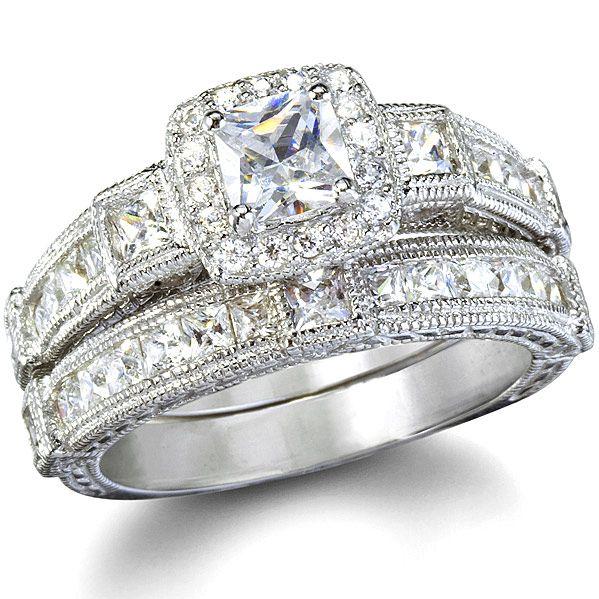 Penelopes Antique Style Imitation Diamond Wedding Ring Set