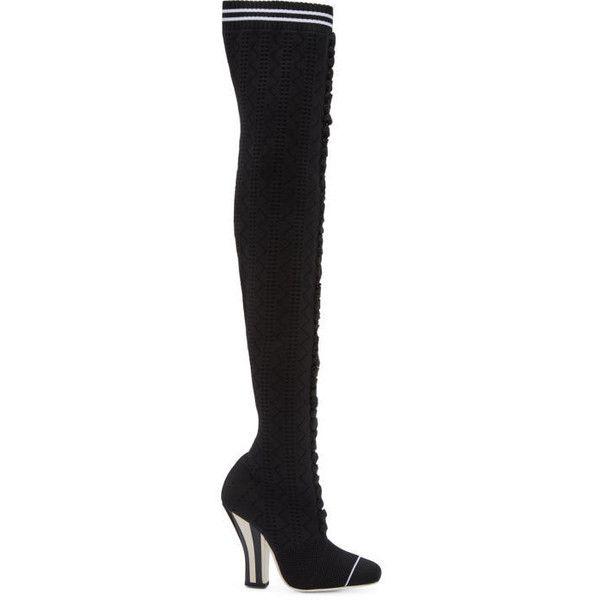 f27eb7503c5 Fendi Black Scuba Sock Over-the-Knee Boots (€880) ❤ liked on ...