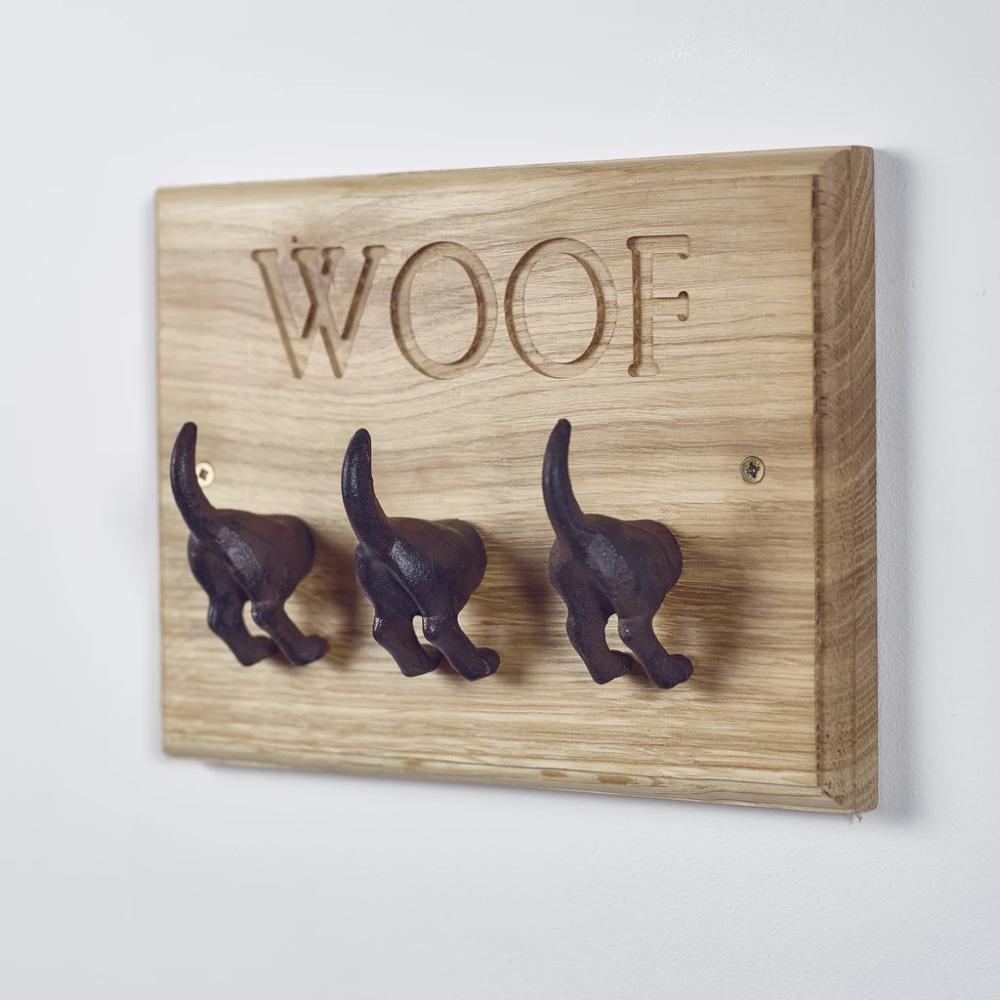 Wooden carved dog bone shaped pet leash holder #