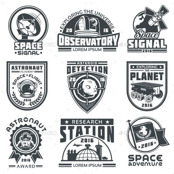set of vector badges space template eps astronaut badges