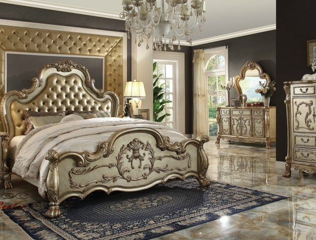 Acme Dresden Gold Patina Bedroom set bellagio furniture ...