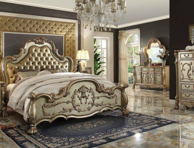 Acme Dresden Gold Patina Bedroom set bellagio furniture houston ...