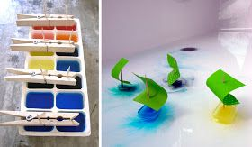 El ice cube boats for summertime baths