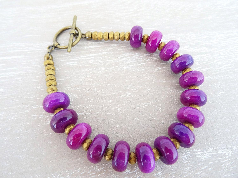 Jasper Bracelet, Hematite Bracelet, Fuchsia Bracelet, Magenta Bracelet, Semi Precious Stone Bracelet, Gemstone Bracelet, Ladies Bracelet. by DawnSneesbyJewellery on Etsy