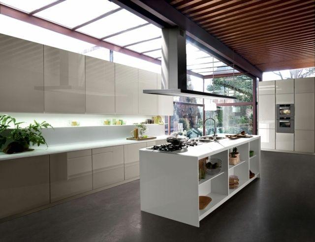 moderne Küche komplett weiß Ideen Kochinsel Stauraum Cuisine - moderne küchen ideen