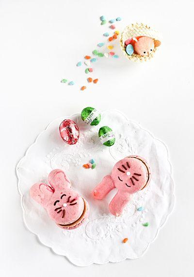 raspberri cupcakes: Easter Bunny Macarons