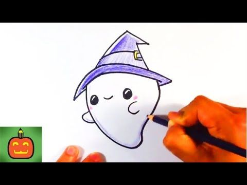 How To Draw A Cute Halloween Ghost With A Hat Halloween Drawings
