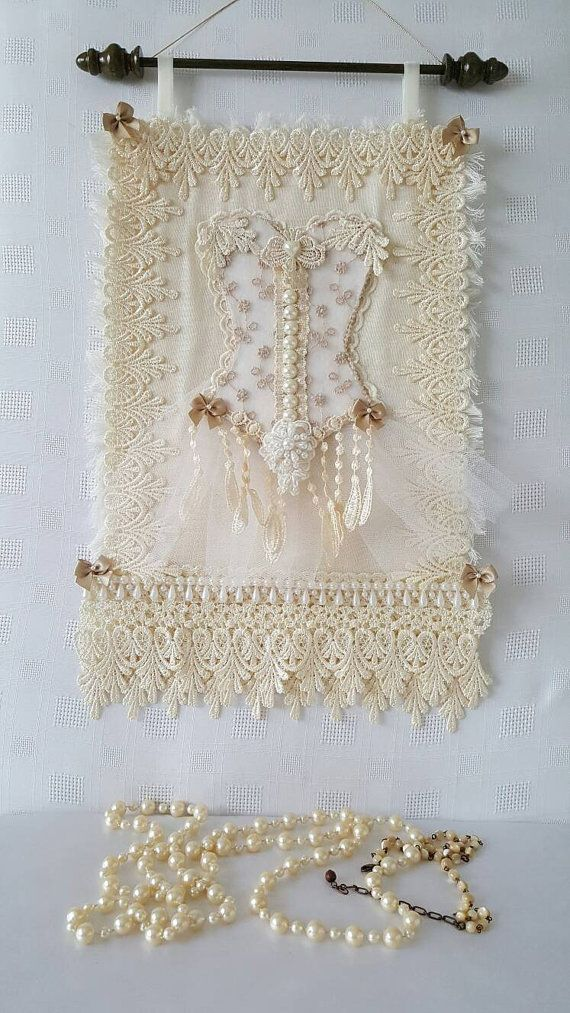 Check Out This Item In My Etsy Https Www Uk Listing 243928602 Lace Corset Wall Hanging Shabby Chic